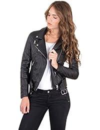 D'Arienzo - CHIODO • colore nero • giacca biker in pelle con cintura nappa effetto liscio