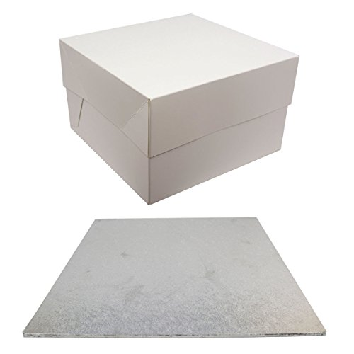SQUARE Hardboard Cake BOARD and BOX Set - Perfect for transporting your bakes (1 Single, 15 Inch) by Culpitt