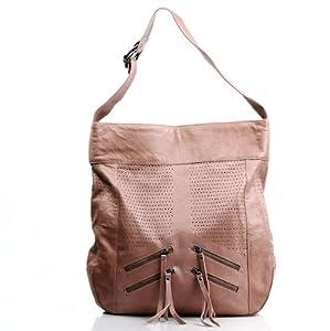 "FEYNSINN XL bolso de hombro HOLY - piel genuina - Beige cartera & bolso de asas - cabe tablet, iPad, 15"" portátil (44 x 46 x 6 cm)"