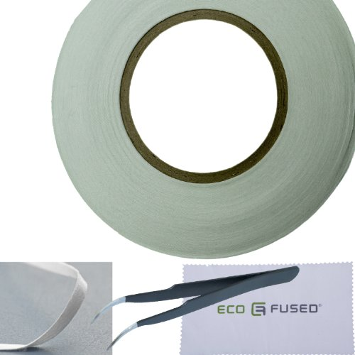 Adhesive Sticker Tape for Use in Cell Phone Repair - 2mm - also including 1 Pair of Tweezers / ECO-FUSED Microfiber Cleaning Cloth (White)