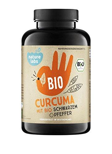 BIO Curcuma (Kurkuma) mit Bio schwarzem Pfeffer. 180 vegane Kapseln. Frei von Zusatzstoffen wie Gelatine oder Magnesiumstearat. Laborgeprüft und hergestellt in Deutschland.