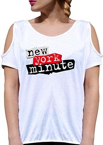 T SHIRT JODE GIRL GGG27 Z0499 NEW YORK MINUTE PAPER AMERICA FUN USA FASHION COOL BIANCA - WHITE