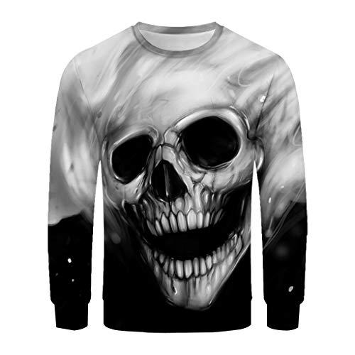 Tyoby Horror-Schädeldruck Hipster Sweatshirt Herren Pullover Sweater,Original 3D dünner Pulli Sweatshirt Langarmshirt Crew Neck(Weiß,CN:XXL/EU:42) - Erwachsene Heavy Blend Crew Neck