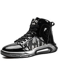 814b2f719f36 LanFengeu Herren Sneakers High-Top Lackleder Rundzehen Freizeit Leichte  Dämpfung Moderne Flach Männerschuhe