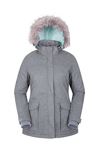 Frauen-schnee-jacken (Mountain Warehouse Braddock Skijacke für Damen - Verstellbare Kapuze, MP3-kompatibel, wasserfest, abnehmbarer Schneerock - Ideale Skibekleidung für mehr Wärme Hellgrau DE 42 (EU 44))