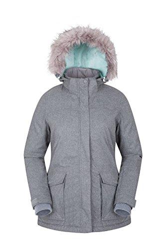 Mountain Warehouse Braddock Skijacke für Damen - Verstellbare Kapuze, MP3-kompatibel, wasserfest, abnehmbarer Schneerock - Ideale Skibekleidung für mehr Wärme Hellgrau DE 36 (EU - Mp3 Snowboard