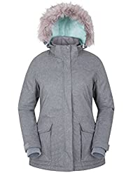 Mountain Warehouse Braddock Womens Ski Jacket – Adjustable Hood Ladies Coat, Mp3 Compatible, Waterproof Ski Coat, Detachable Snow Skirt - Ideal Ski Clothes For Warmth