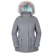Mountain Warehouse Chaqueta de esquí Braddock para mujer - Abrigo con capucha ajustable para mujer, compatible con MP3, abrigo de esquí impermeable Gris claro 46