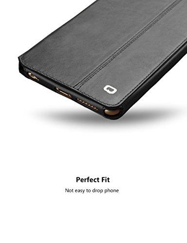 "iPhone 6/6S/+ Plus Ständer Fall, Slim Flip echtes Leder Schutzhülle, qialino Ultrathin Bookstyle Case, 11,9cm/14cm Apple Zelle Displayschutzfolie, Leder, iphone6 plus Black, 5.5"" iphone6 Plus iphone6 Black"