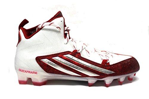 adidas Men's Crazyquick 2.0 Mid Football Cleats (13, White/Platinum/Unired)