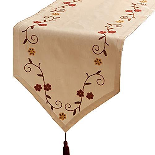 Chemin de table Style Country américain, Broderie tridimensionnelle, Convient à la Table à Manger/Table Basse/Armoire/lit (Taille : 40×220cm)