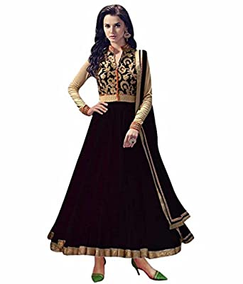 Buy Online Bollywood Ethnic Wear Exclusive Collection Net Black Colored Anarkali Dress Material Salwar Suitt