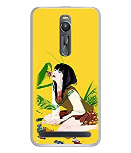 PrintVisa Designer Back Case Cover for Asus Zenfone 2 (Cute girl enjoying with butterflies)