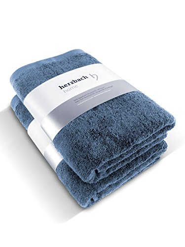 herzbach home Luxus Handtuch Duschtuch 2er-Set Premium Qualität aus 100% ägyptischer Baumwolle 70 x 140 cm 600 g/m² (Graublau) (Set Ägyptische)