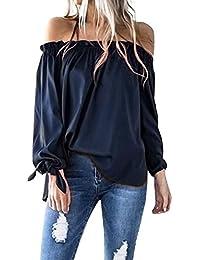 ACHIOOWA Damen Shirt Langarm Schulterfrei Cold Shoulder Rückenfrei Bluse  Oversize Tops Party Oberteil Trägerlos Langarmshirt… 7edb08b14d