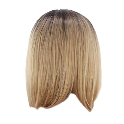 kurze Haare Welle Kopf gefärbt Farbverlauf Perücken, Bluestercool Frauen mode gerade Gold synthetische Haar ()