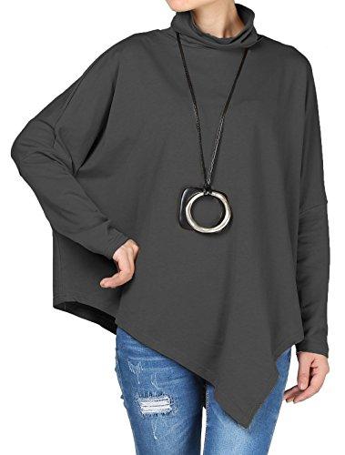 Vogstyle Donna Primavera Autunno Maniche Lunghe Alto Collare Baggy Camicia Tunica Con Irregolare Orlo Grigio scuro