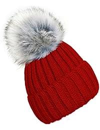 4sold Unisex Kinder Wurm Winter Style Beanie Strickmütze Mütze mit Fellbommel Bommelmütze HAT SKI Snowboard