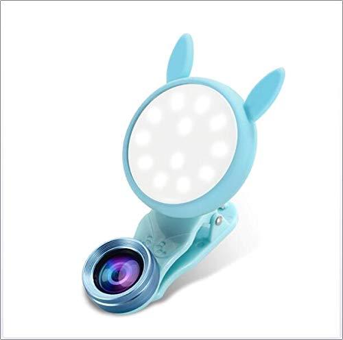 DJG Selfie-Ringlicht, Handy-Fülllicht Selbstauslöser Weitwinkelobjektiv Verdunkelnder Selbstauslöser Göttin Weißes Gesicht Live-Übertragung,Blue
