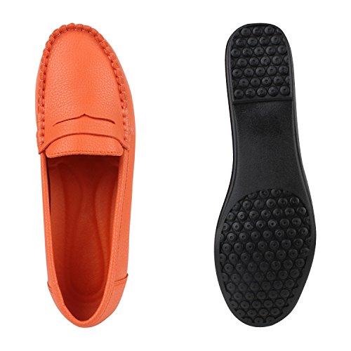 Damen Slipper Pastell Flats Schuhe Lederoptik Orange Glatt