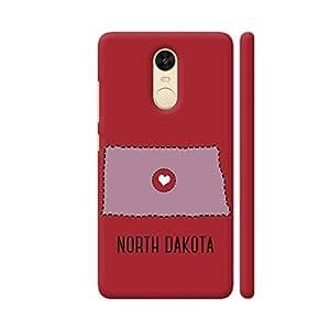 Colorpur North Dakota State Heart Printed Back Case Cover for Redmi Note 4