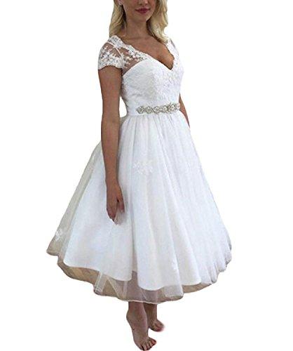 5be73d777a56 YASIOU Hochzeitskleider Für Damen Kurz Weiß Vintage Spitze Tüll A Linie  Standesamt Hochzeitskleider Brautkleid mit ärmeln