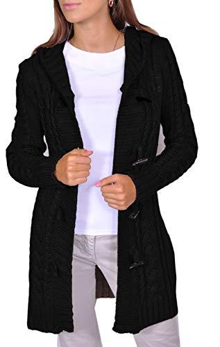 Damen Strick Jacke Mantel Pullover Kapuze Beige Grau Warm (951) (L, Schwarz)