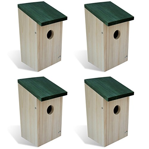 vidaXL 4x Vogelfutterhaus Futterhaus Vogelhaus Futterstelle Nisthaus Nistkasten Holz