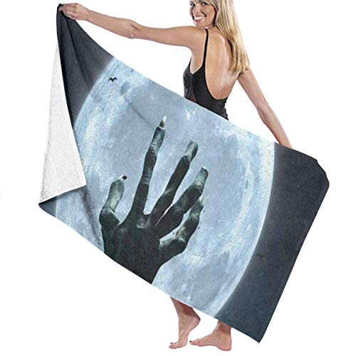 Serviette de bain, Halloween Zombie Hand Grave Full Moon Personalized Custom Women Men Quick Dry Lightweight Beach & Bath Blanket Great for Beach Trips, Pool, Swimming and Camping 31