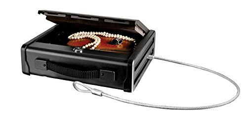Master Lock Portable Gun Safe with Key Lock & Tether Cable, Single Gun Capacity