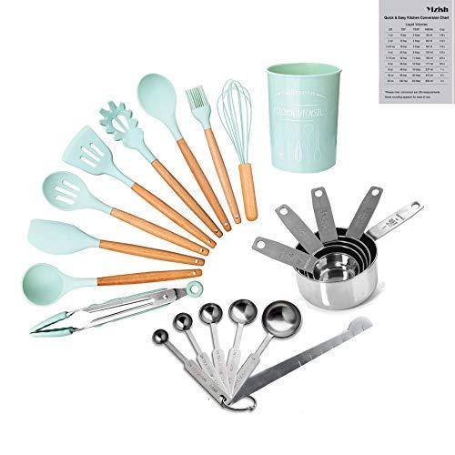 22-Teiliges Küchengeschirr Kochgeschirr Set, Yizish Silikon-Kochgeschirr mit Messbechern aus Edelstahl und Messlöffel