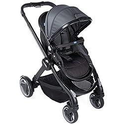 Chicco Fully Single Silla de paseo 2 en 1 transformable, silla y capazo, color negro (Stone)
