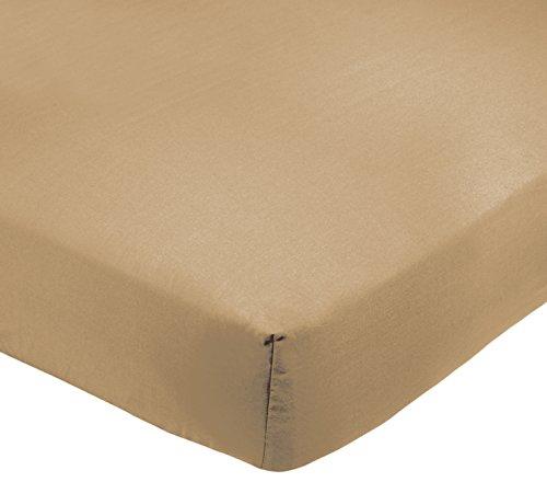 Amazonbasics - lenzuolo con angoli, policotone 200 fili, colore: marrone chiaro - 90 x 190 x 30 cm