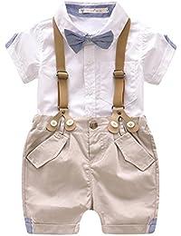 Pinleck Toddler Baby Boys Gentleman Summer Suits Set Bowtie Shirt Bid Shorts Overalls
