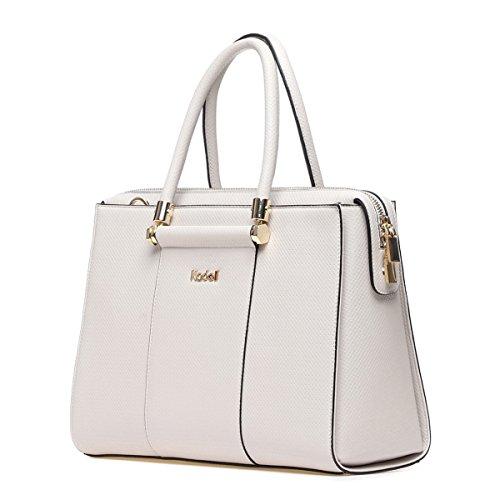 Kadell Frauen Luxus Leder Designer Handtaschen Top Griff Geldbörse für Damen Umhängetasche Grau-weiß