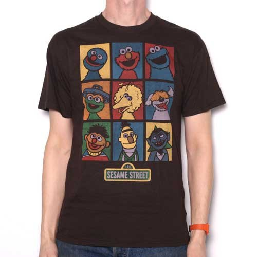 Sesame Street T Shirt - Multi Faces Retro Style Brown 100% Official US Import