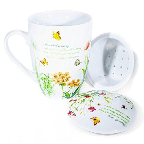 Italy www.lefantasiedicasa.com Mug tisanière en porcelaine avec filtre coquelicots avec boîte cadeau. 00052 Tisane d'Tisane Petit Déjeuner