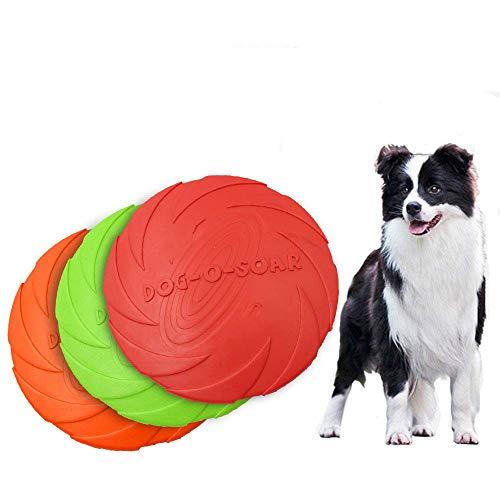 ZYZ 3 Unids Perro de Goma Frisbee Juguete de Entrenamiento para Mascotas Durable Platillo Volador Juguetes Interactivos Juguete para Perro de Agua Flotante Adecuado para Perros Pequeños Medianos