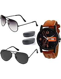 Sheomy UV Protect Aviator and Wayfarer Unisex Sunglasses with 3 Boxes (Black) -Combo Set of 3