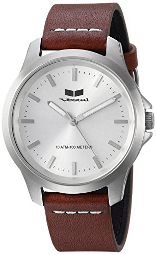 Vestal Quartz Stainless Steel and Leather Casual Watch, Color:Brown (Model: HEI393L01.LBWH)