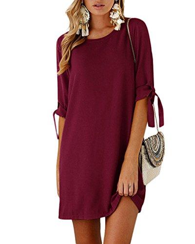 YOINS Sommerkleid Damen Tshirt Kleid Rundhals Kurzarm Minikleid Kleider Langes Shirt Lose Tunika mit Bowknot Ärmeln (Aktualisierung-Rotwein, EU40-42(Kleiner als Reguläre Größe))