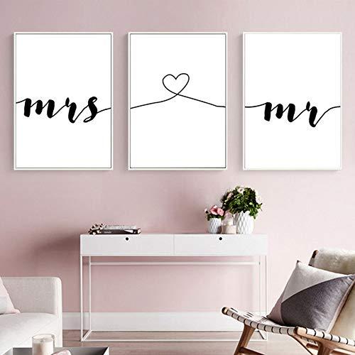 Nordic Ideas Set de 3 Posters Mr et Mrs Citation Murale Chambre Tableaux Décoration Peinture sur Toile Affiche Noir et Blanc Motivation Poster Deco Salon sans Cadre PTQT001-M