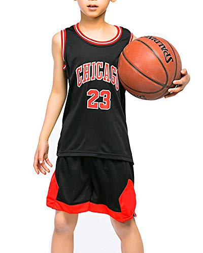 Hanbao Kinder Junge NBA Michael Jordan # 23 Chicago Bulls Retro Basketball Shorts Sommer Trikots Basketballuniform Top & Shorts Basketball Anzug
