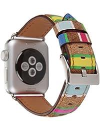 Magiyard Para Apple Watch Correa de madera retro de grano banda de reloj de cuero (B, 38mm)