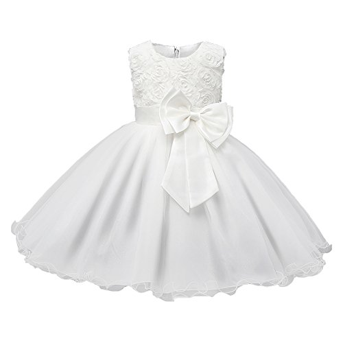 Hibote Kids Filles Clothing Formal Teenagers Prom Gown Wedding Party RobesWhite 100CM
