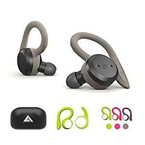 Boult Audio Tru5ive Bluetooth 5.0 Auto Pairing Wireless Earphones with mic & 3 Colour earloops (Gray,Neon Green,Pink)