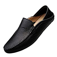 Men Hollow Loafers Summer Leather Shoes, Male Casual Elegant Driving Shoes Flats Shoes