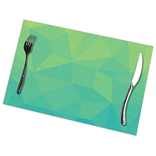 Myhou Platzsets, Dining Table Placemats Sets of 6 Heat Resistant Washable Table Mats Abstract Geometric Gradient Pattern Between Soft Green and Strong Cyan Soft Square Dinner Plate