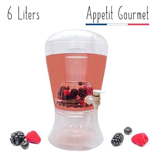 Appetit Gourmet Dispensador de Bebidas Fuente de Bebidas Limonada Cócteles con Grifo Gran Capacidad 6l Doble Depósito de hielos e Infusor de Frutas y té extraíbles Bebidas 100% Frescas