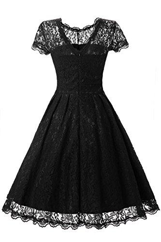 YMING Femme Robe de Soirée Retro Cocktail 1950 Robe de mariage Swing Robe Dentelle Noir
